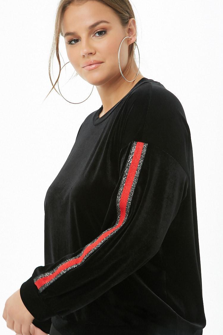 1fc808f140c115 Forever 21 Women's Plus Size Striped-trim Velvet Top in Black - Lyst