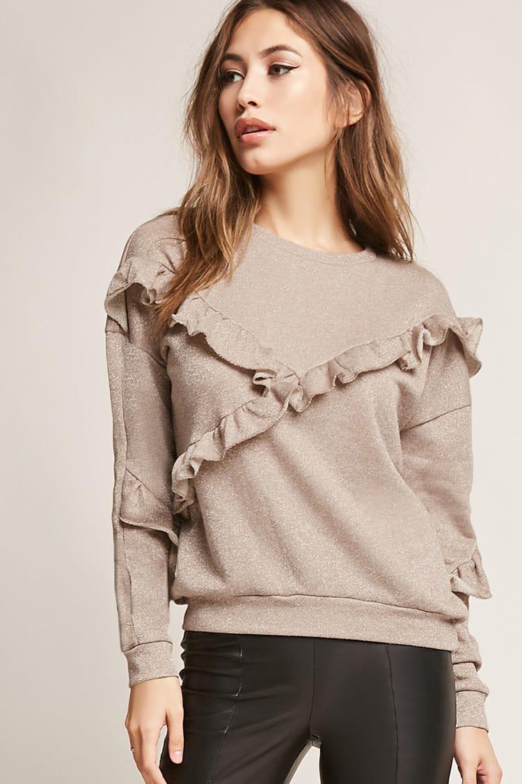 763f65ecf5078 Lyst - Forever 21 Ruffled Metallic Sweatshirt