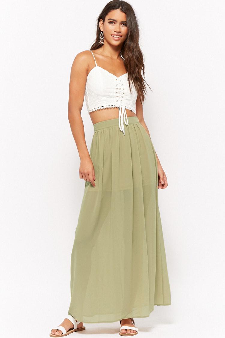 6c1ac20422 Lyst - Forever 21 Semi-sheer Maxi Skirt in Green