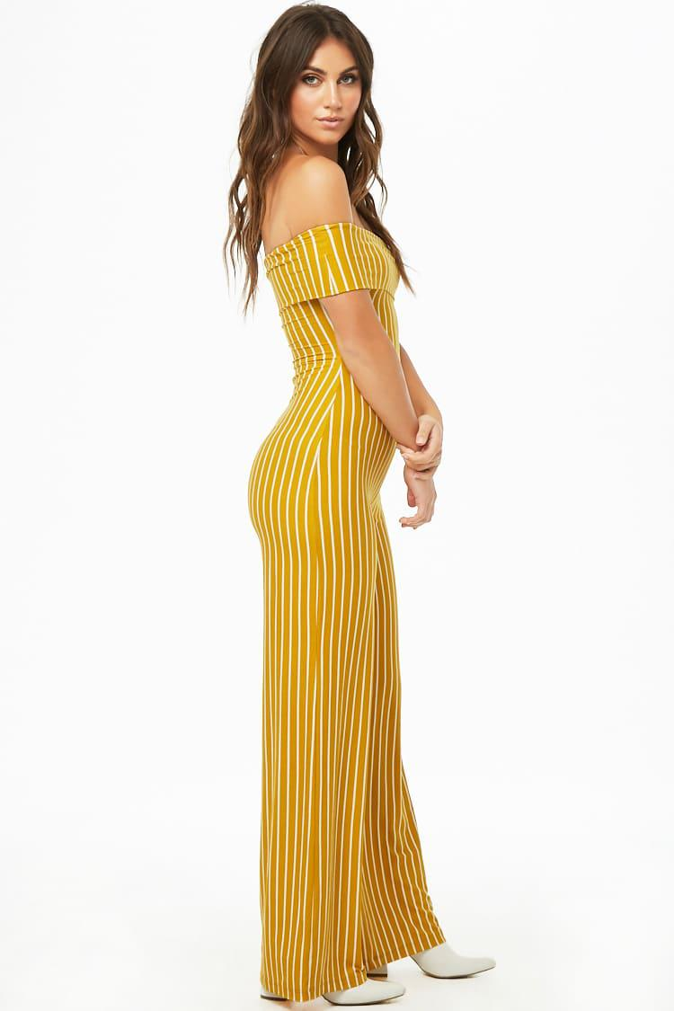 b0aab4cba6 Forever 21 - Yellow Striped Off-the-shoulder Jumpsuit - Lyst. View  fullscreen
