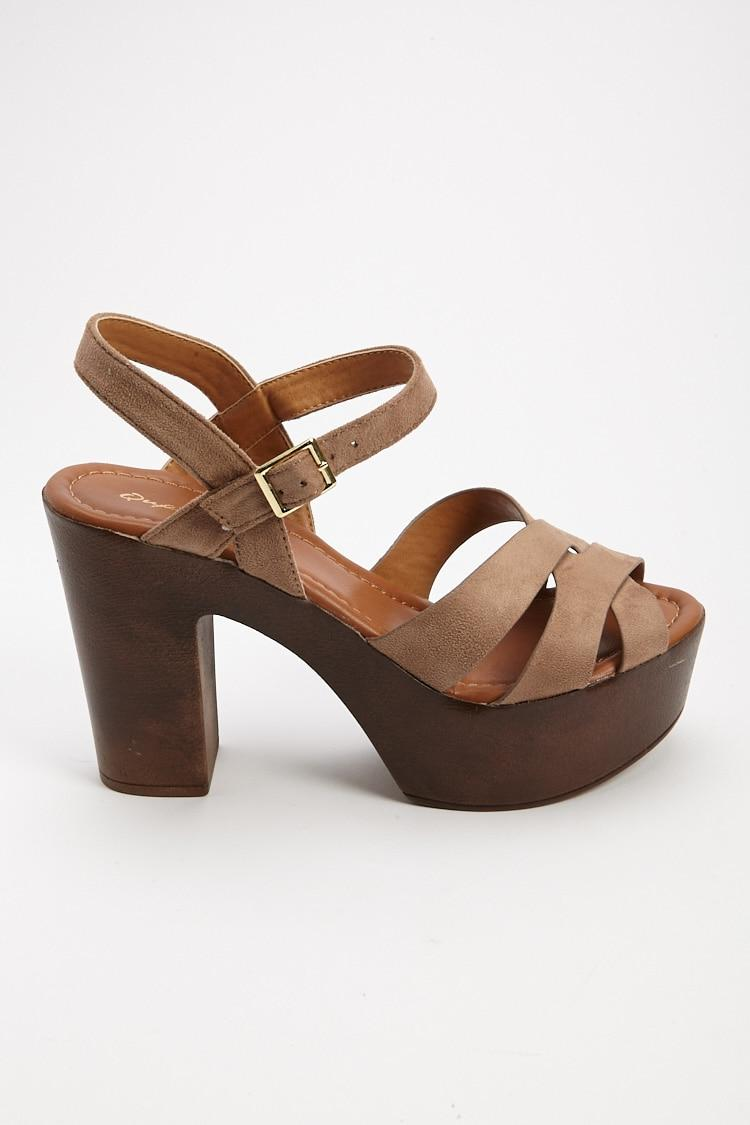 e9a045e5c13b Lyst - Forever 21 Faux Suede Platform Sandals in Brown