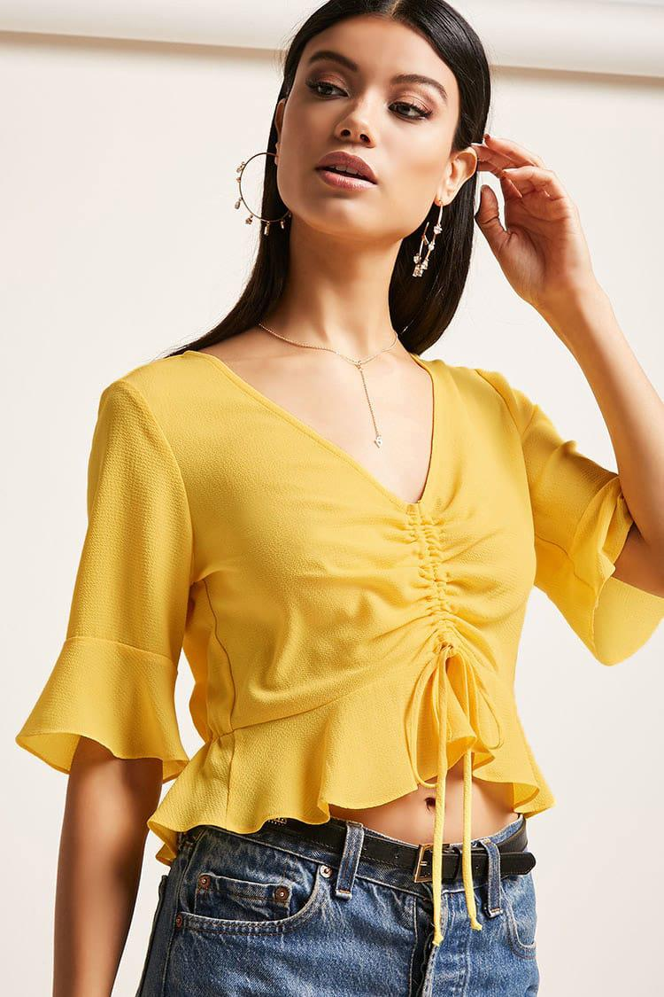 c8ae4736a8d33e Forever 21 Ruched Crepe Top in Yellow - Lyst