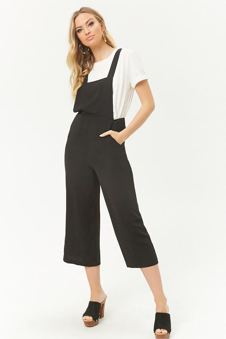 c58537772bd4 Forever 21 Culotte Pinafore Jumpsuit in Black - Lyst