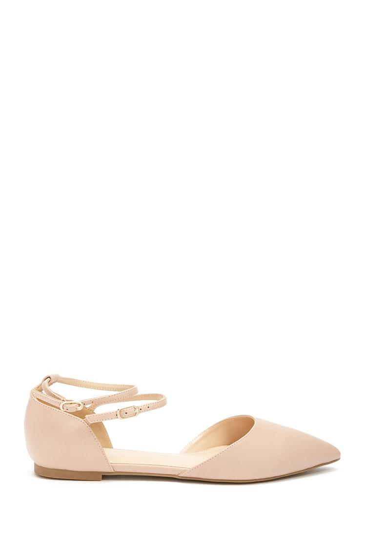 601e7300634 Lyst - Forever 21 Pointed Faux Leather Ankle-strap Flats in Pink