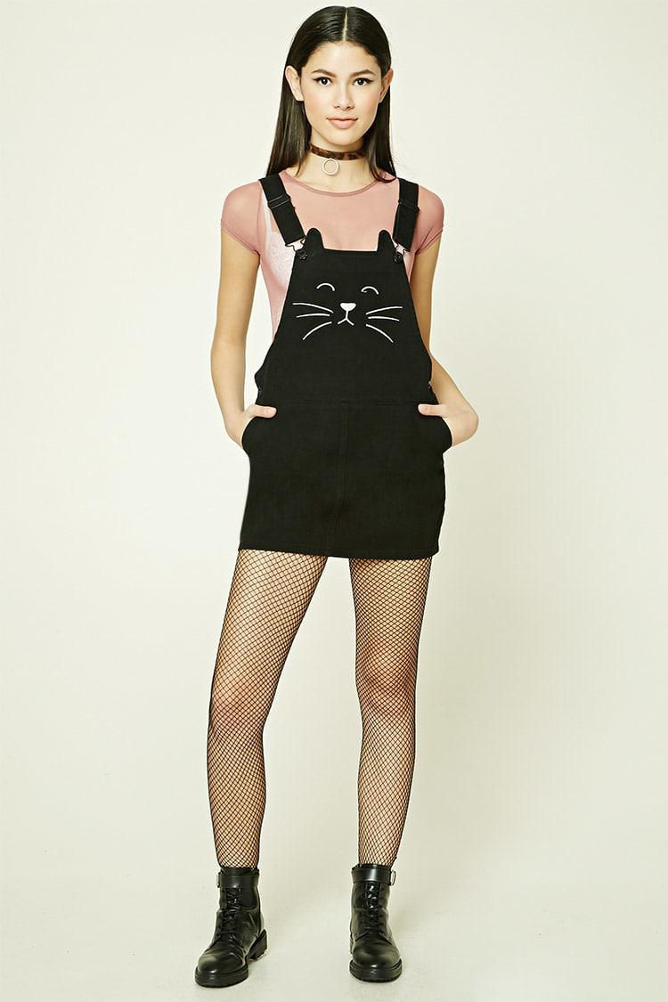 ed818ee2a05 Forever 21 Embroidered Cat Overall Dress in Black - Lyst