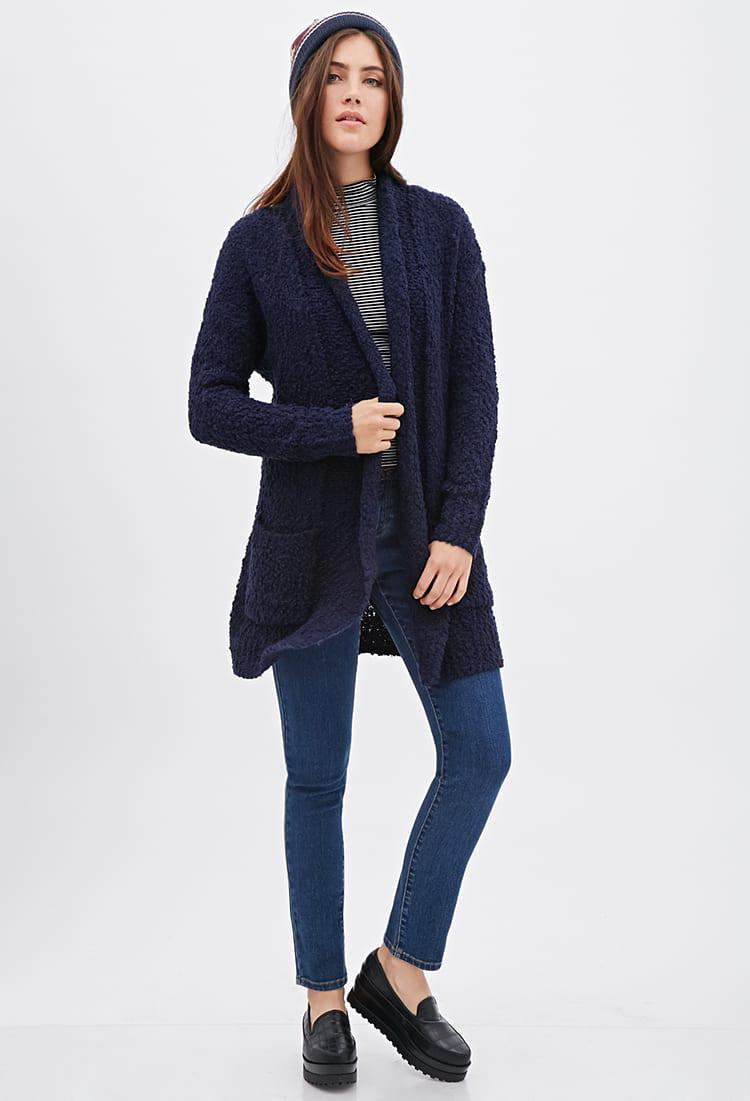Forever 21 Chunky Knit Longline Cardigan in Blue | Lyst