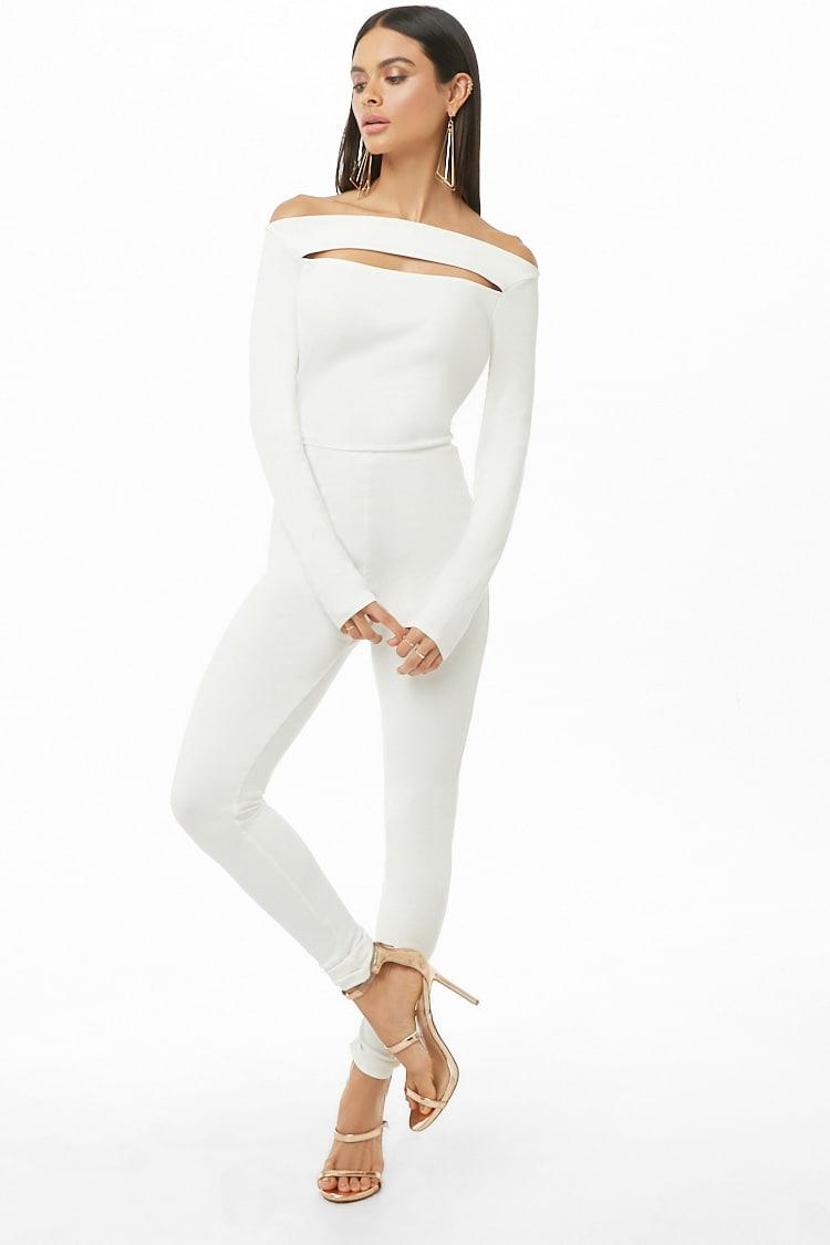 Lyst Forever 21 Cutout Long Sleeve Jumpsuit In White