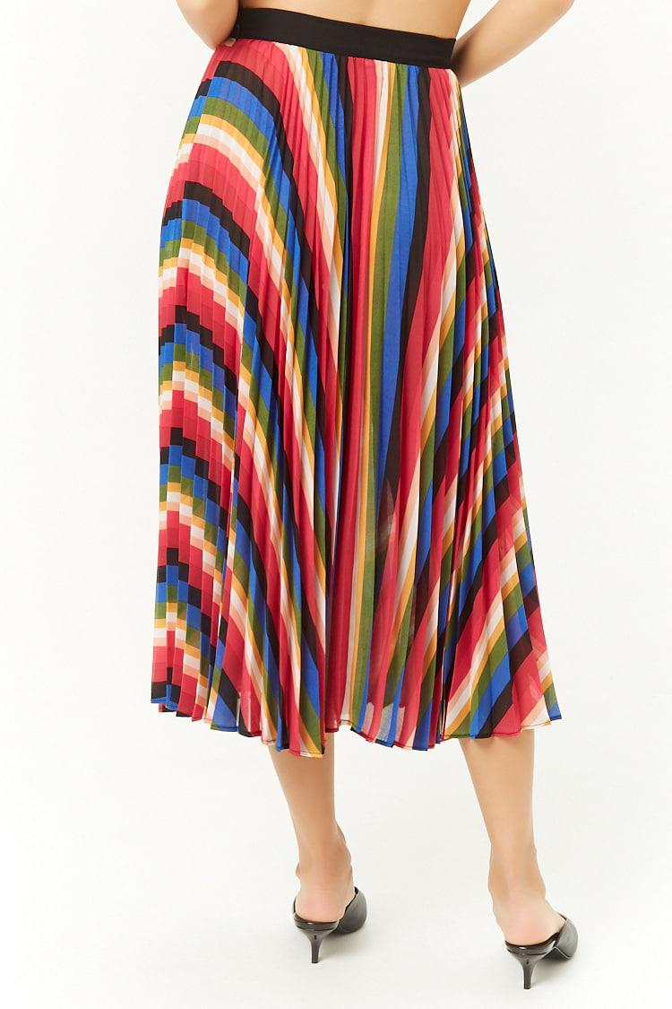 3b2a54635e34 Forever 21 Rainbow Accordion-pleated Midi Skirt , Black/multi in ...