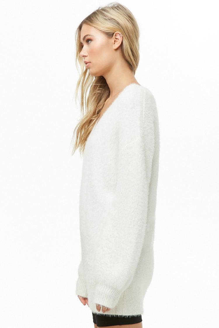 f0787b61537 Forever 21 Fuzzy Sweater Dress in White - Lyst
