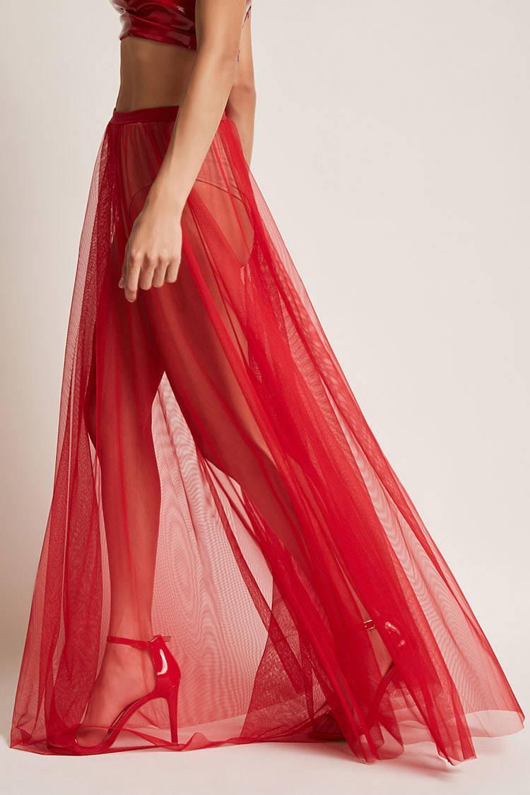 051ce5e8e Forever 21 Kikiriki Sheer Maxi Skirt in Red - Lyst