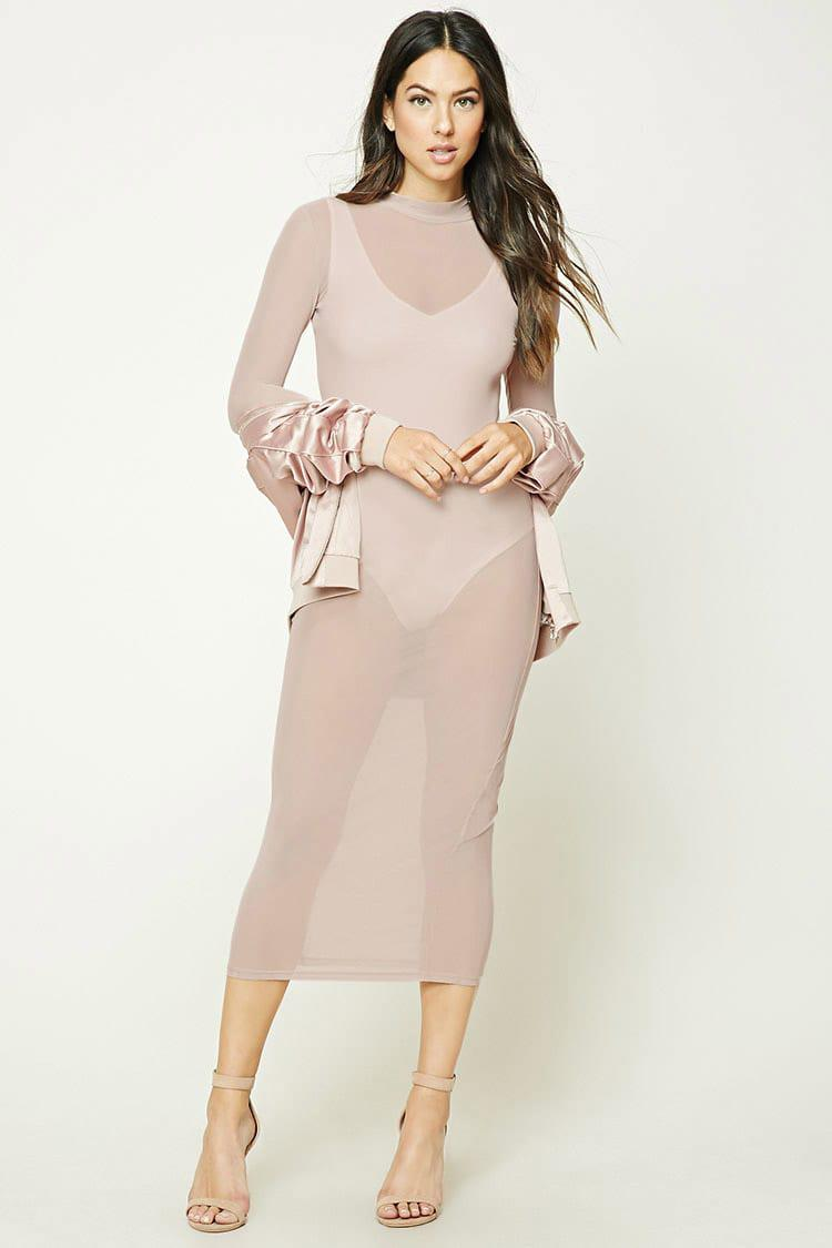 Lyst - Forever 21 Sheer Mock Neck Bodycon Dress in Natural eb3d9d831
