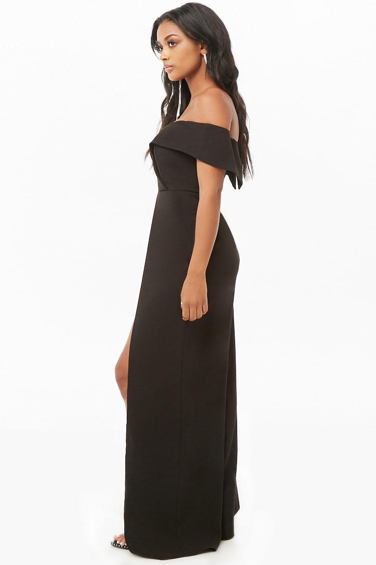 3101793a49 Lyst - Forever 21 Off-the-shoulder Split-leg Jumpsuit in Black ...
