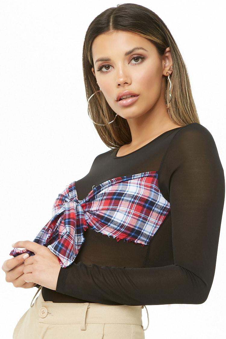 Forever 21. Women s Plaid Tie-front Mesh Bodysuit 7a3716a94