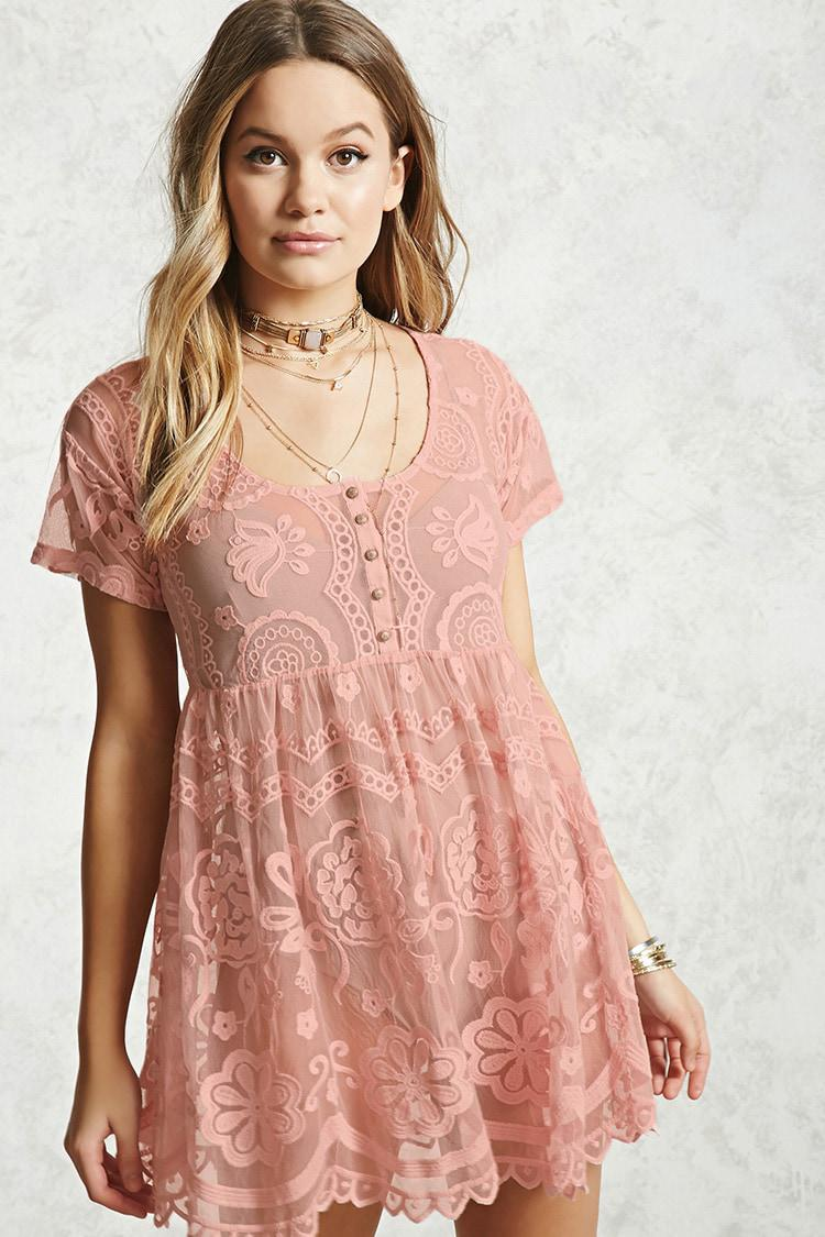 dc8c0eea5e Lyst - Forever 21 Sheer Lace Babydoll Dress in Pink