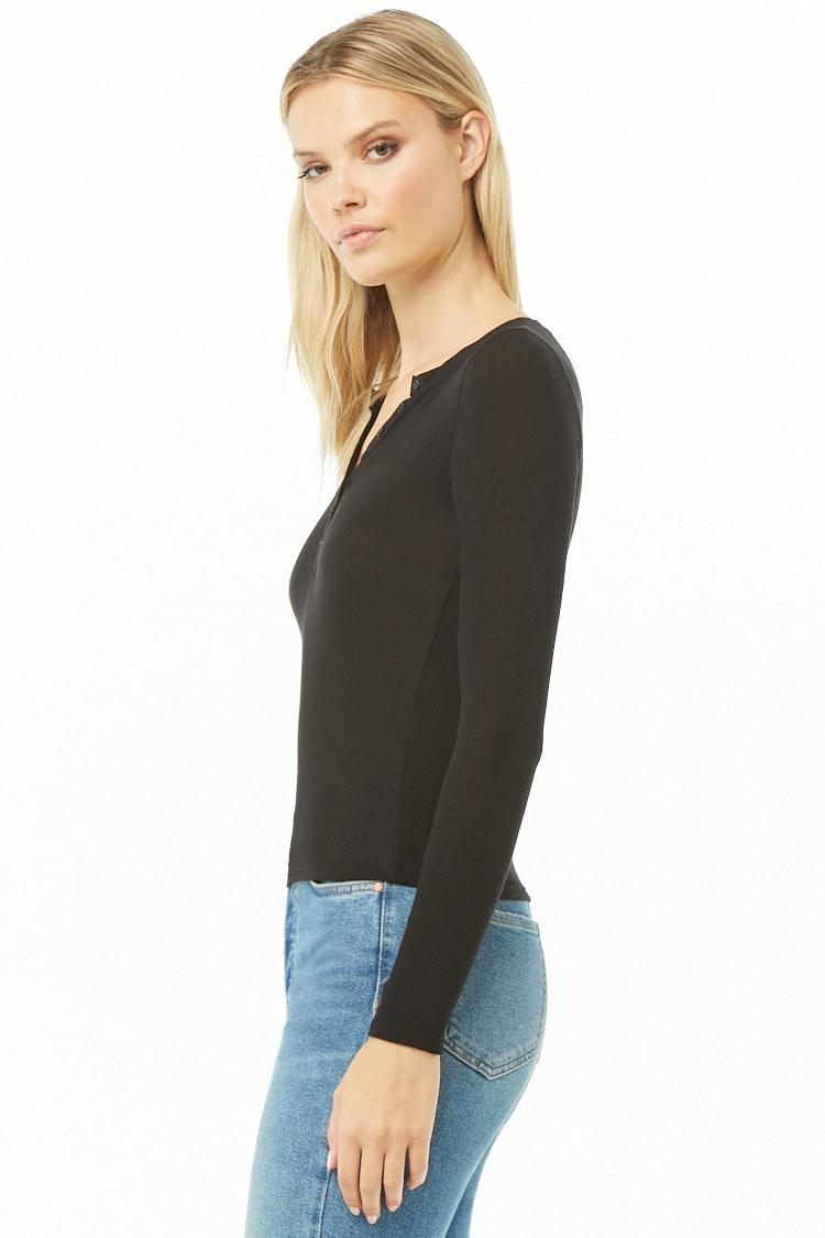 262b428dd09c36 Forever 21 Women s Ribbed Knit Henley Top in Black - Lyst