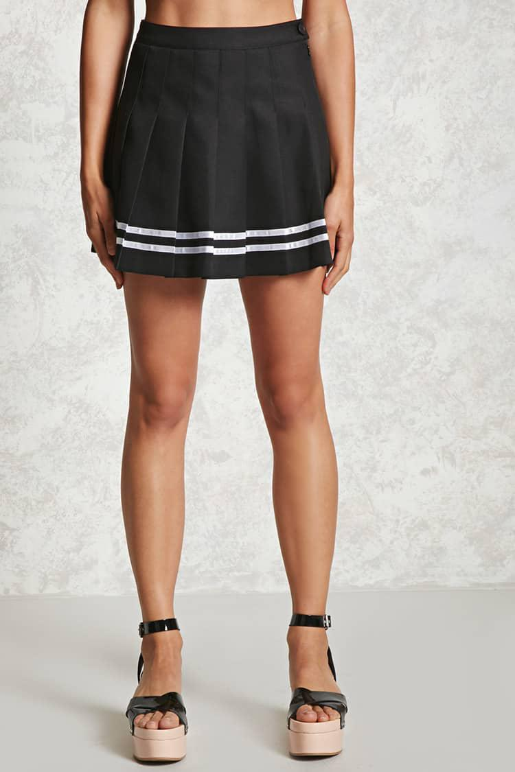 acc221825 Forever 21 Box Pleated Tennis Skirt in Black - Lyst