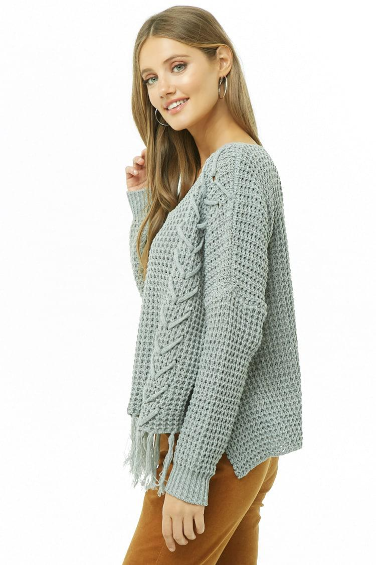 Forever 21 Ribbed Lace-up Tassel-hem Sweater in Gray - Lyst 022b4dc82