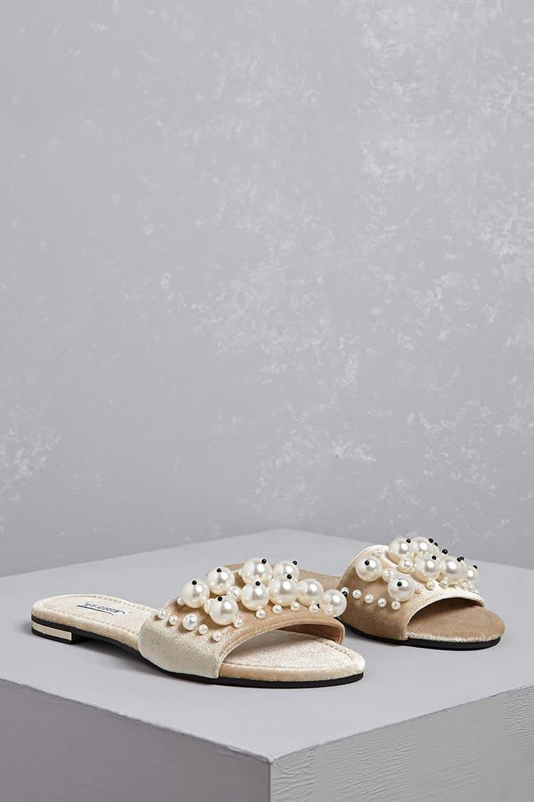 c3b970771b4 Lyst - Forever 21 Faux Pearl Velvet Slide Sandals