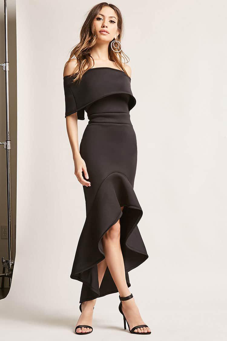 12620e6e33fb4c Lyst - Forever 21 Off-the-shoulder Mermaid Dress in Black