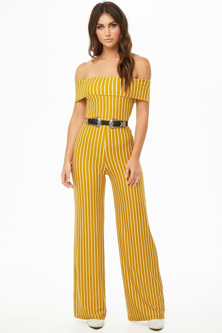 b37ada7bc5 Lyst - Forever 21 Striped Off-the-shoulder Jumpsuit in Yellow