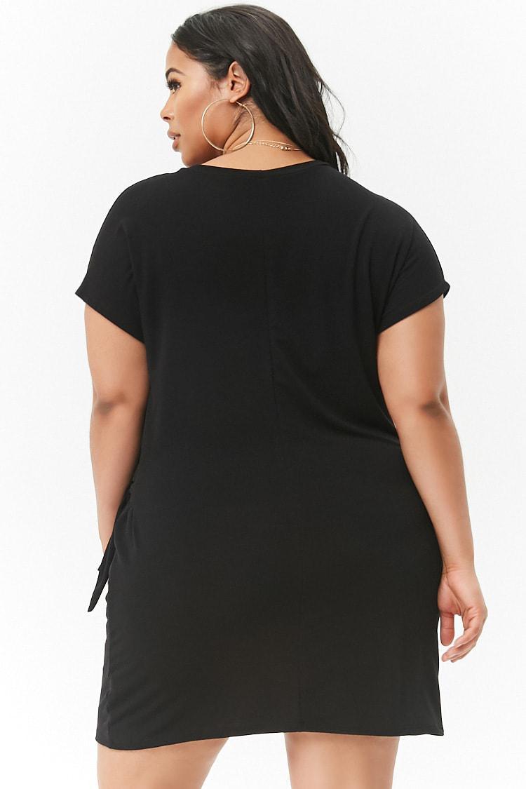 7e6f9119114 Forever 21 - Black Plus Size Slub Knit Self-tie T-shirt Dress -. View  fullscreen