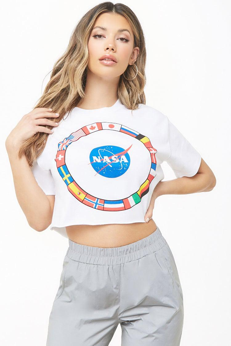 b3fa13e65a6 Lyst - Forever 21 Nasa Cropped Graphic Tee in White