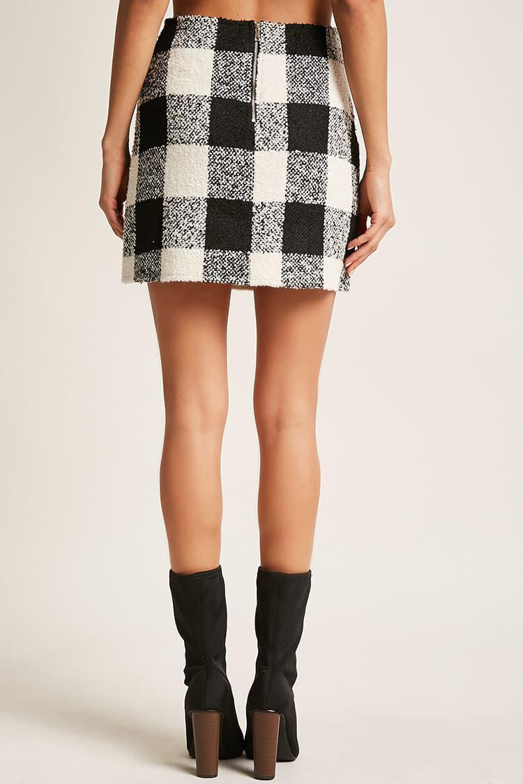 c1e02bf2a6 Forever 21 Checkered Boucle Skirt in Black - Lyst