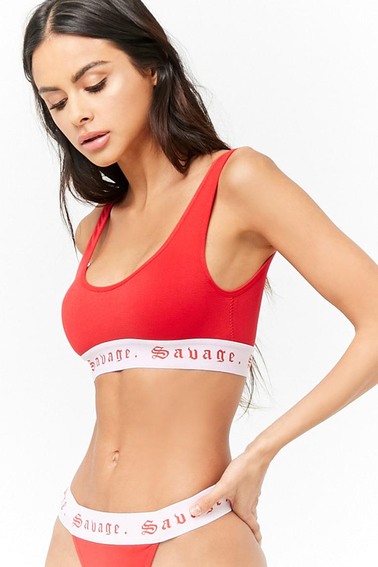 a079f39ece5 Lyst - Forever 21 Savage Graphic Seamless Bralette in Red