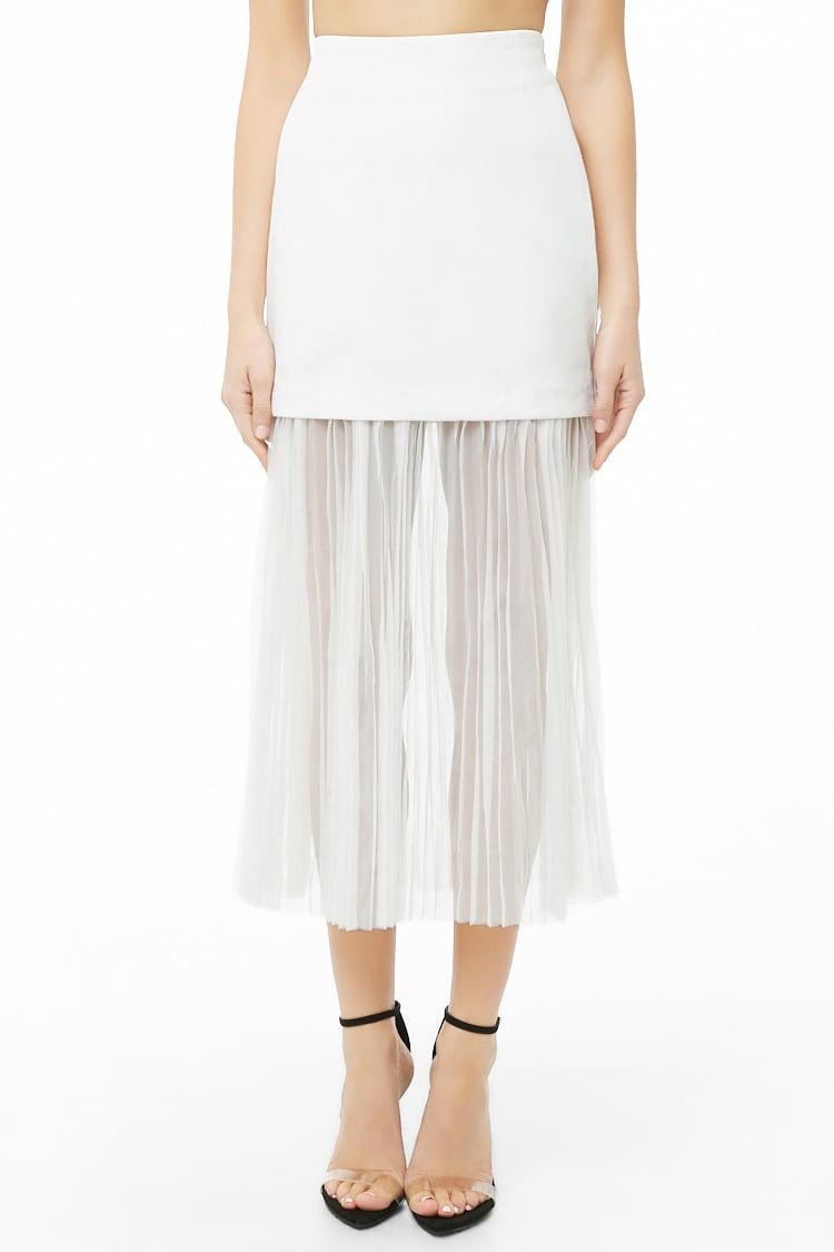 ccd38d8eeb Forever 21 - White Sheer Accordion-pleated Combo Skirt - Lyst. View  fullscreen