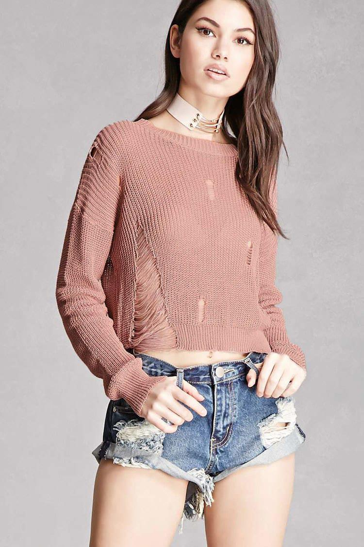 7c51e70fb98 Lyst - Forever 21 Distressed Open-knit Sweater in Pink