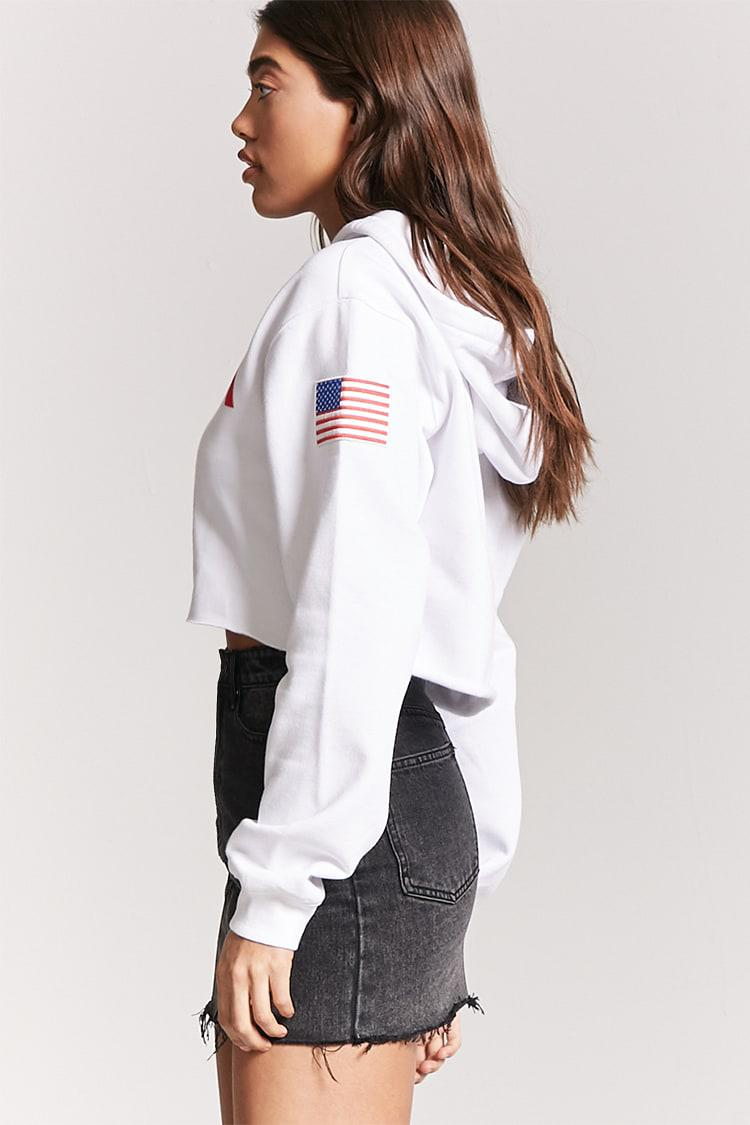 d5ad7d4e60 Forever 21 Nasa Graphic Cropped Hoodie in White - Lyst