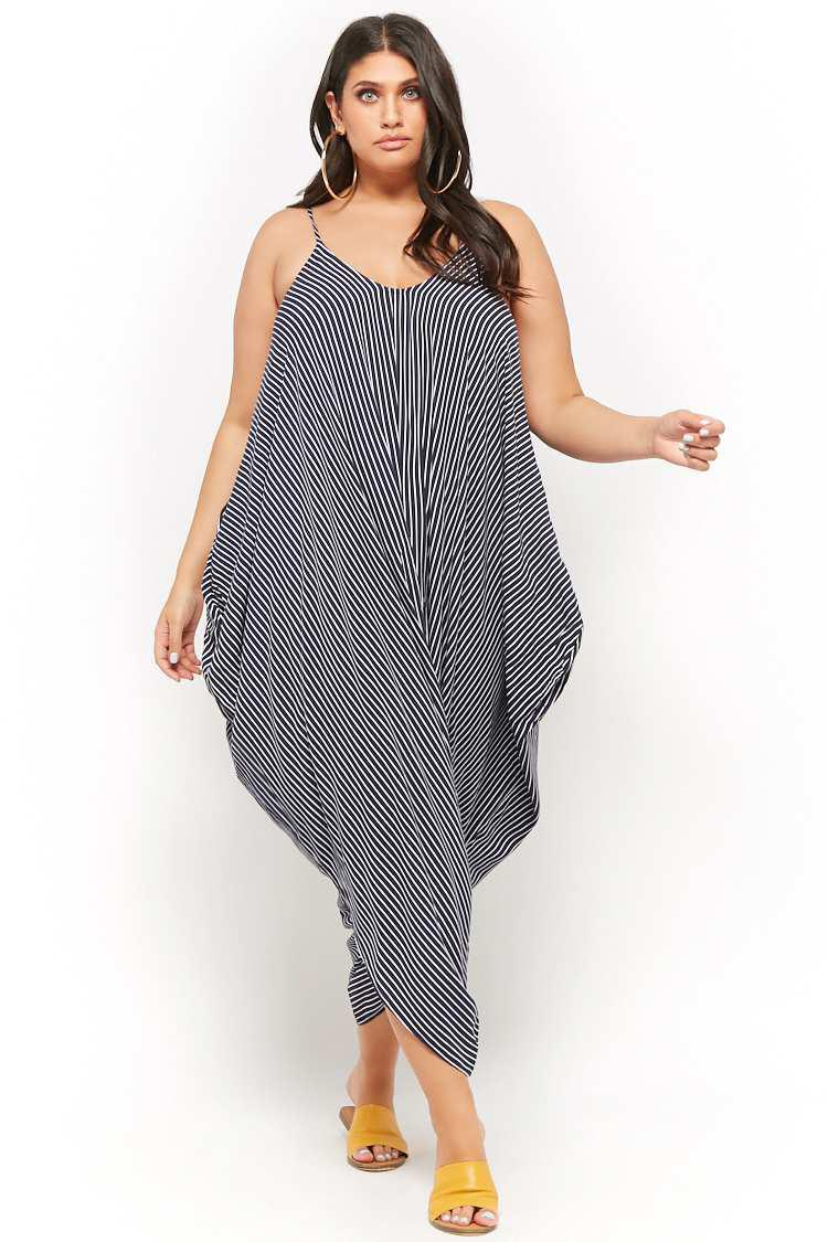 0de4628c0dc Forever 21 Women s Plus Size Striped Harem Jumpsuit in Blue - Lyst