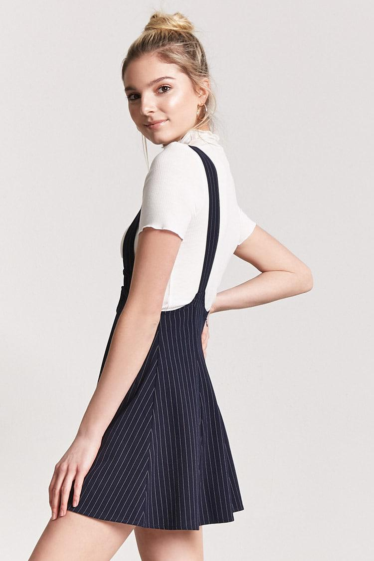 86864985b6 Lyst - Forever 21 Pinstripe Overall Dress in Blue
