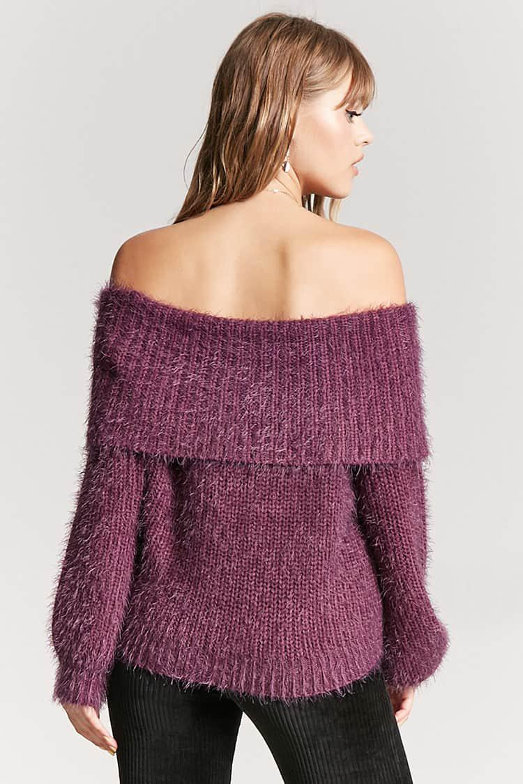 Forever 21 Off-the-shoulder Fuzzy Sweater in Purple | Lyst