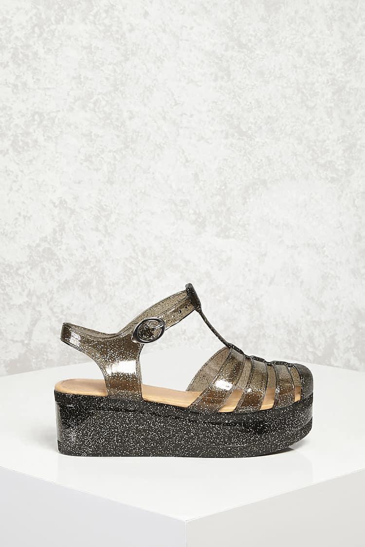 Lyst - Forever 21 Glitter Jelly Platform Sandals in Metallic