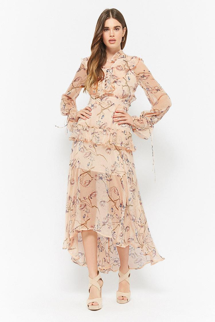 848493456d Lyst - Forever 21 Dark Pink Floral Maxi Dress in Pink