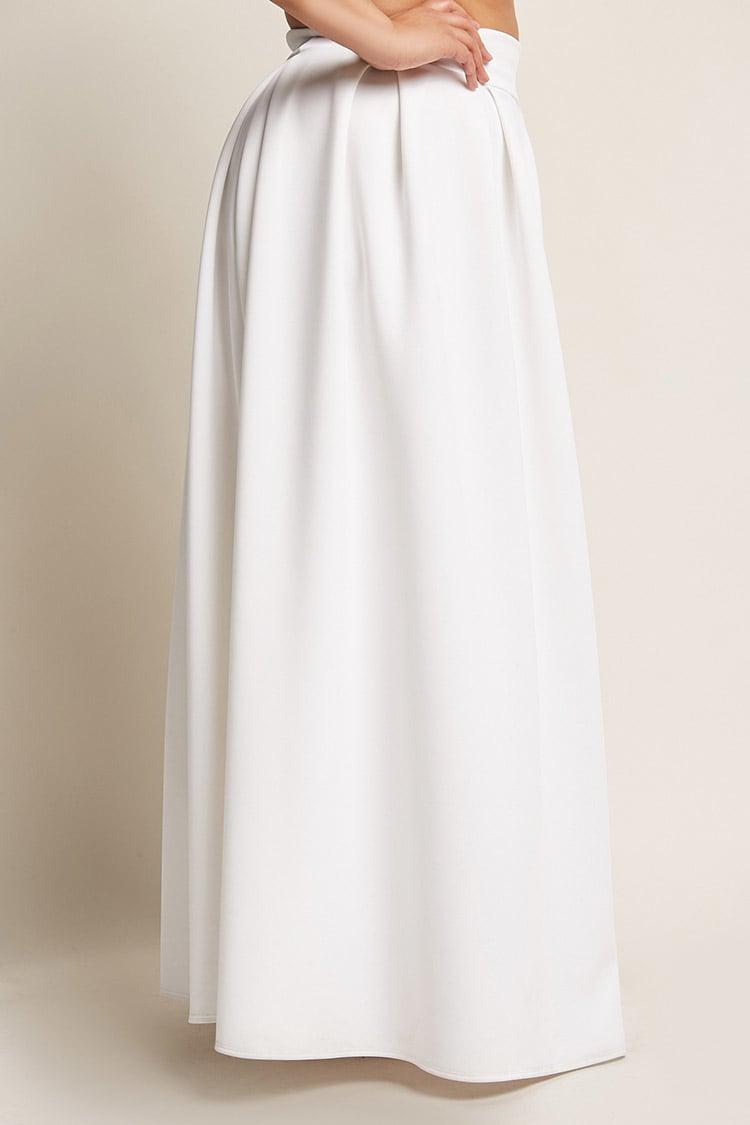d45ed5bc7 Forever 21 Plus Size Box-pleated Maxi Skirt in White - Lyst