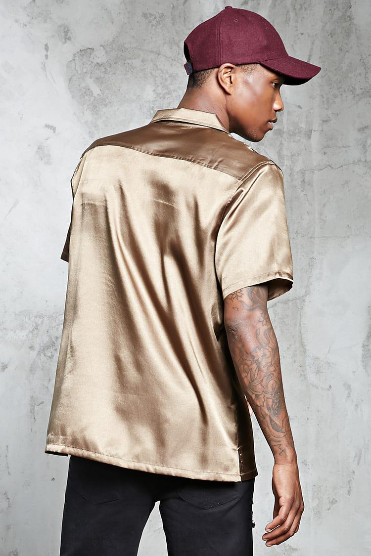 eaa511bc1 Forever 21 Calabasas Satin Shirt in Natural for Men - Lyst