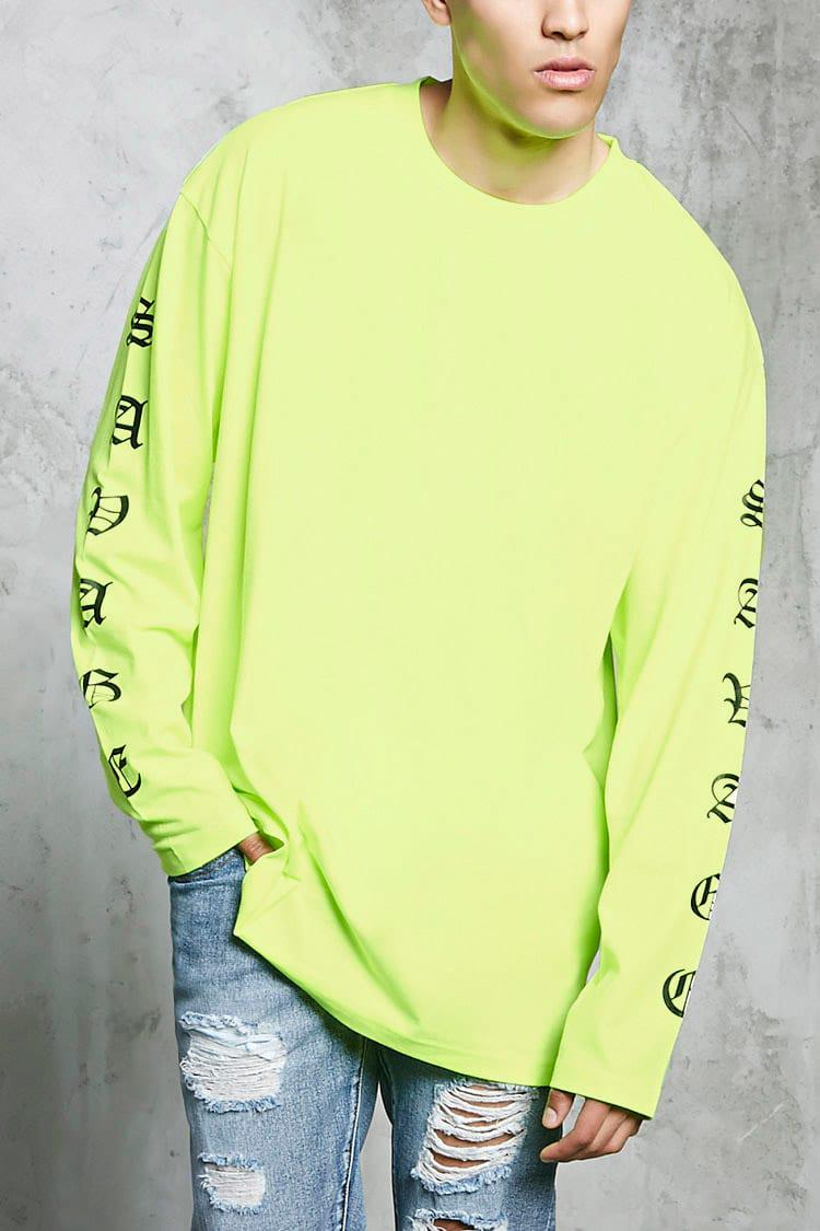 Forever 21 Savage Graphic Long Sleeve Tee In Yellow For Men Lyst