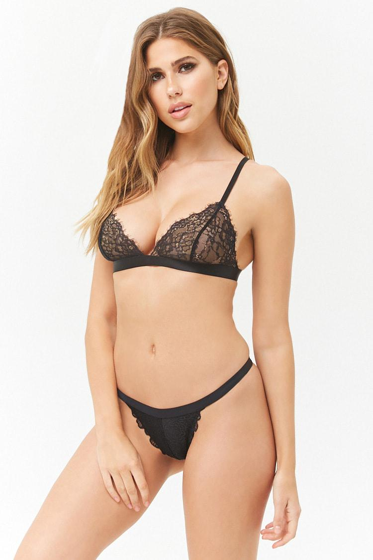 7c9a04f224 Forever 21 Women s Scalloped Lace Thong Brief in Black - Lyst
