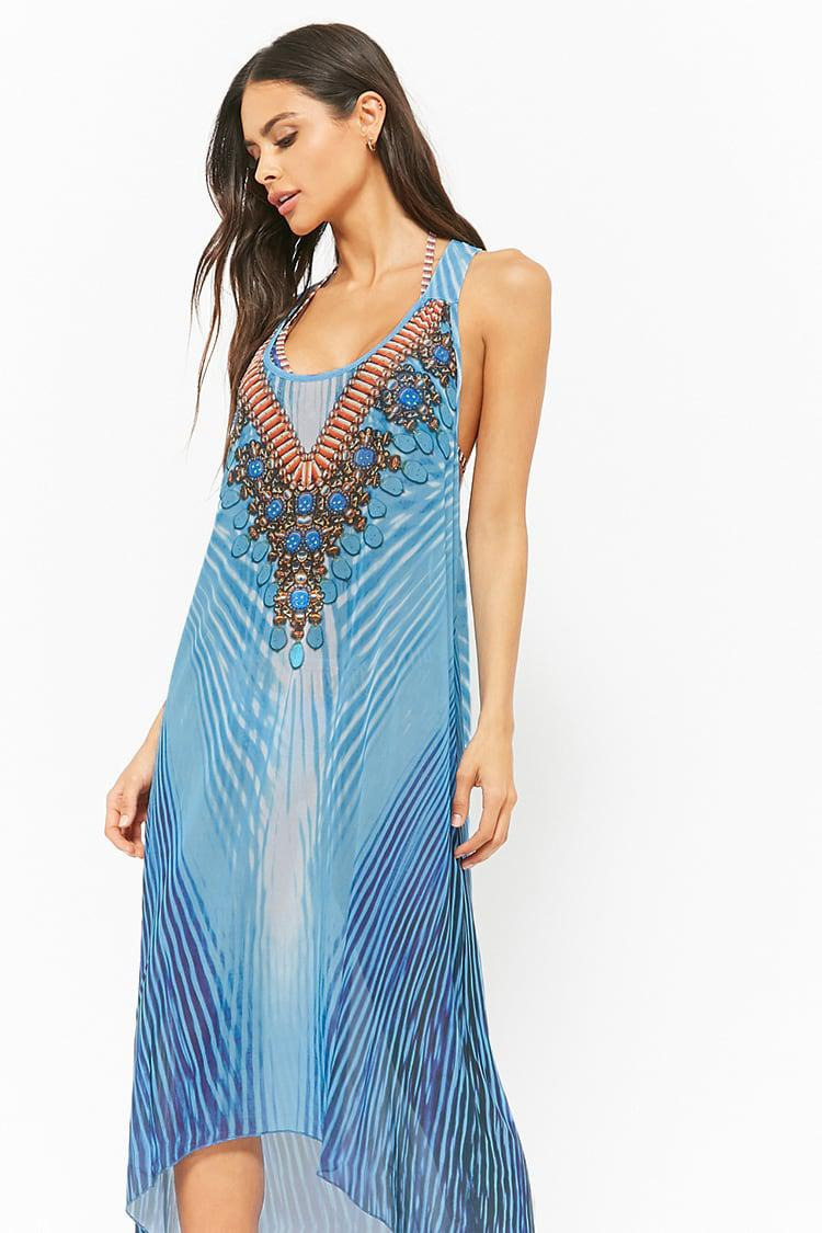 051a33cd1ae9 Lyst - Forever 21 Embellished Swim Cover-up Dress in Blue