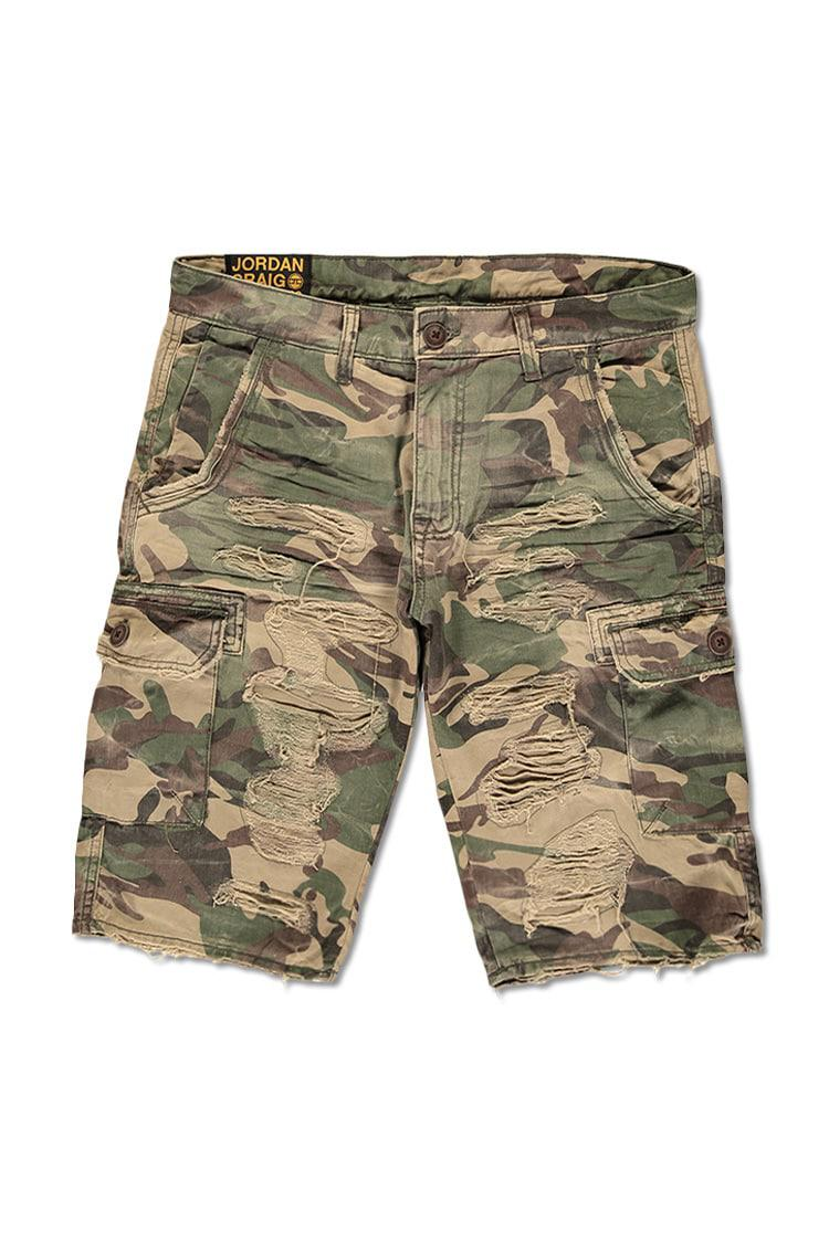 b5bf0d6b62f9 Lyst - Forever 21 Jordan Craig Distressed Camo Cargo Shorts in Green ...