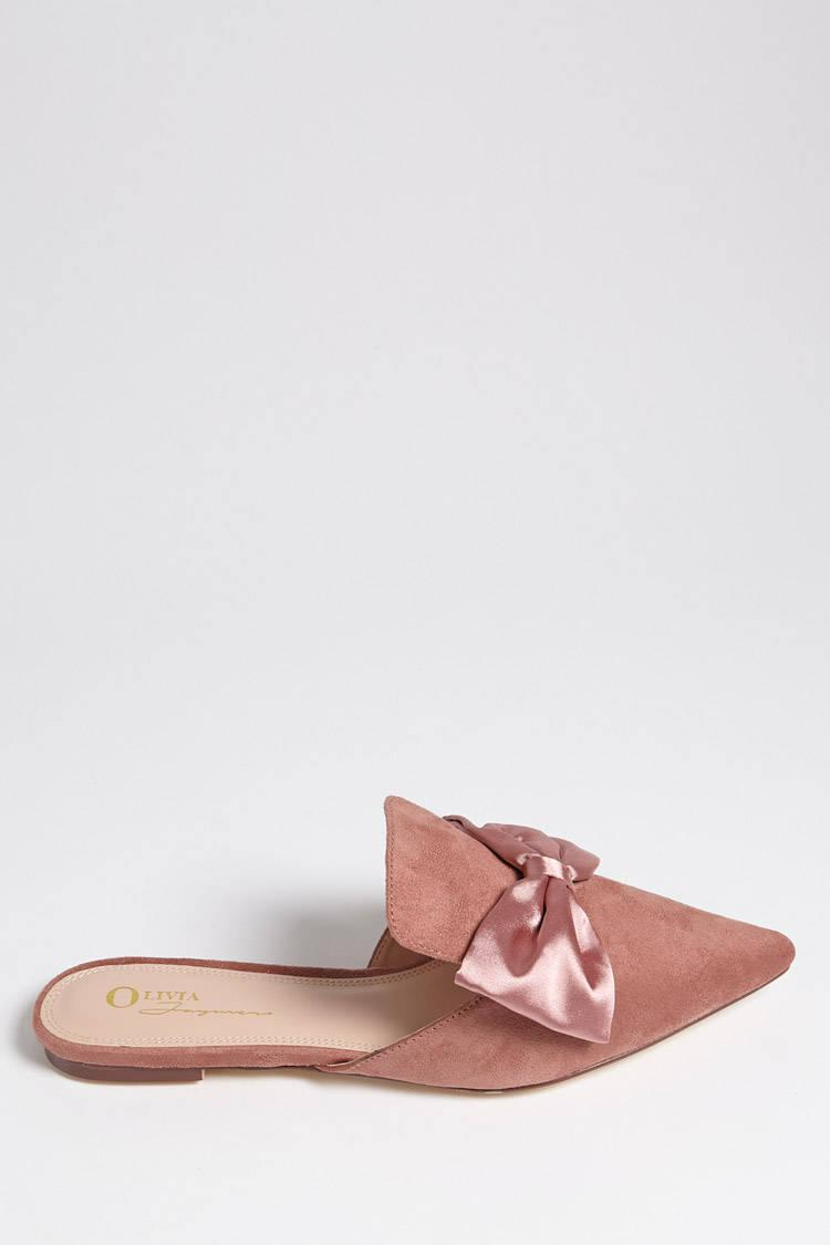 Forever 21. Women's Pink Faux Suede Loafer Mules