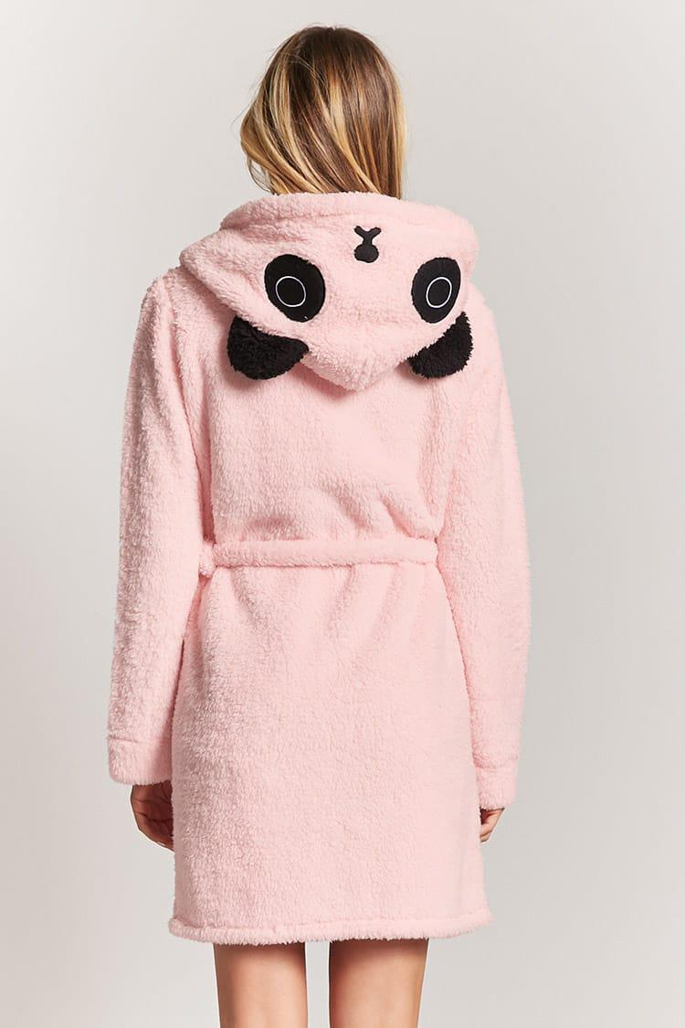 Forever 21 Plush Panda Hooded Bathrobe in Pink - Lyst