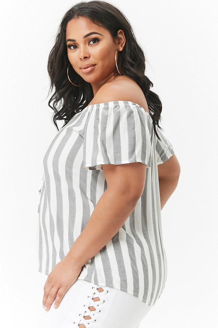 70aaa9ec262d79 Forever 21 - Multicolor Women s Plus Size Striped Off-the-shoulder Lace-up.  View fullscreen