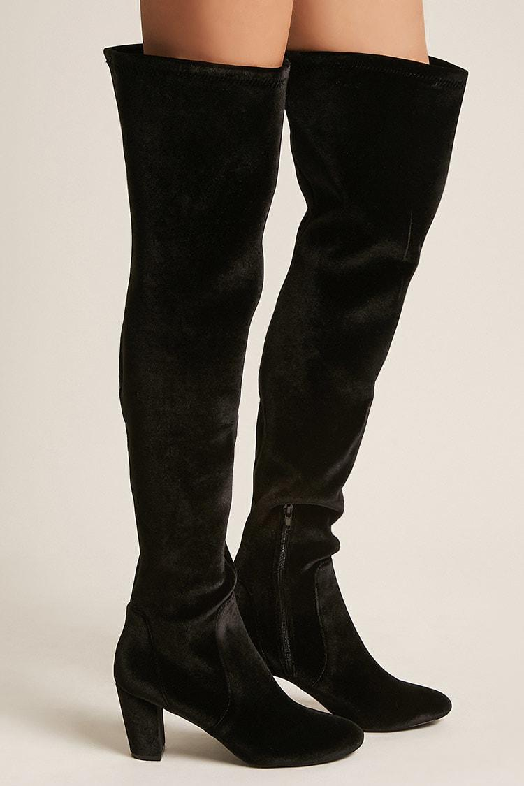 d6a002ad94 Lyst - Forever 21 L4l By Lust For Life Velvet Over-the-knee Boots in ...