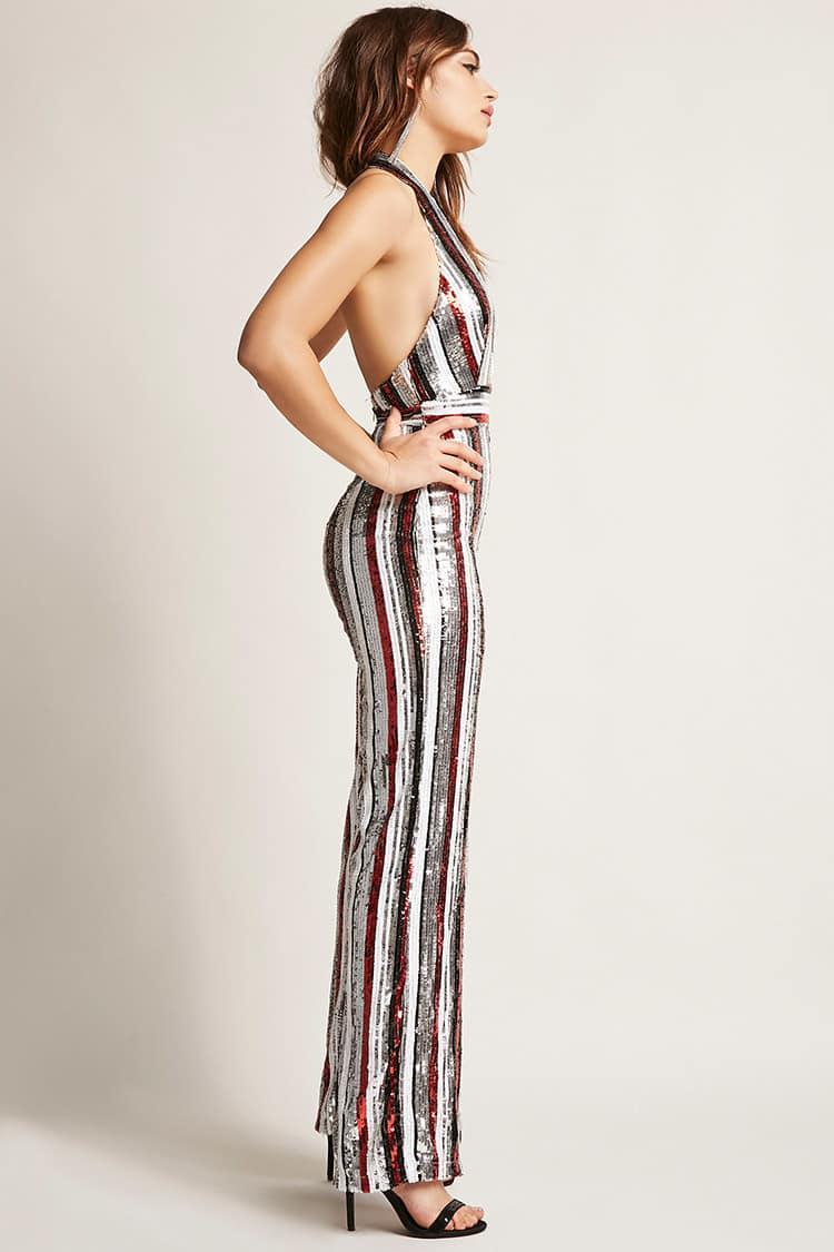 Lyst Forever 21 Multicolor Stripe Sequin Halter Jumpsuit In Red