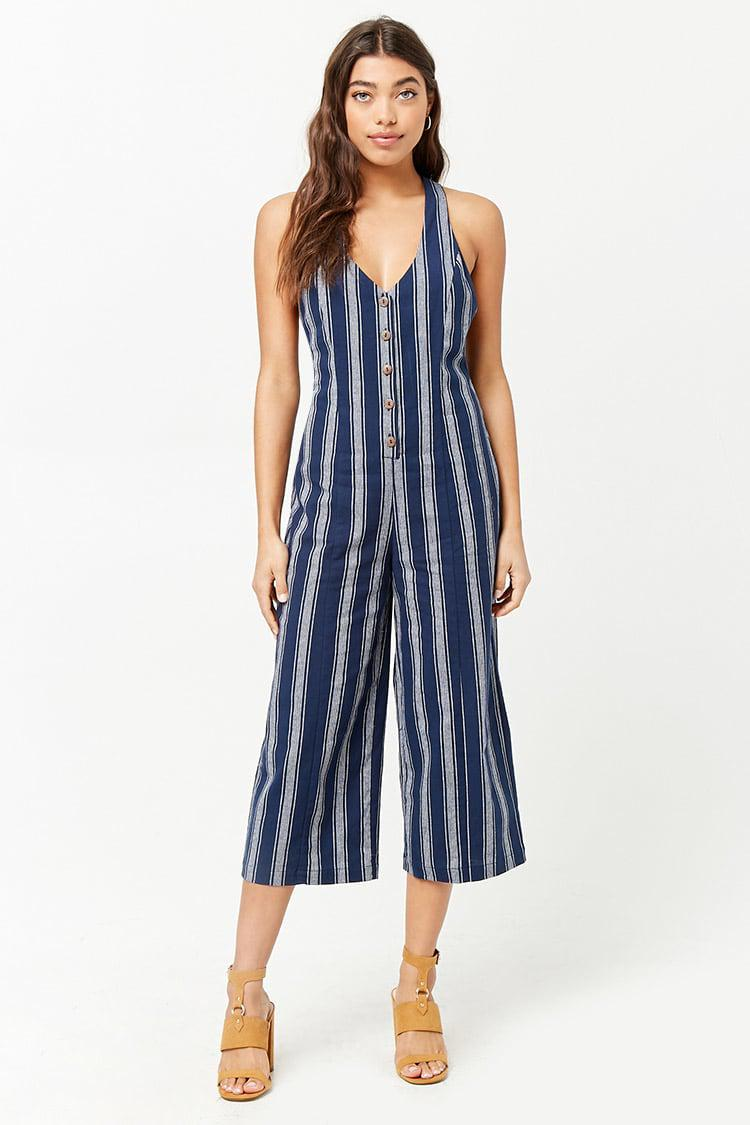 3f352018c02 Forever 21 Striped Button-front Jumpsuit in Blue - Lyst