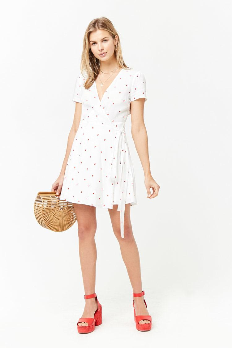 056a2aaf6 Forever 21 Heart Print Surplice Wrap Dress in White - Lyst
