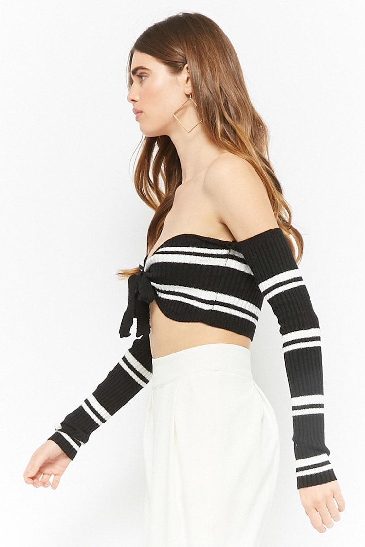 ca27b2b3ac90c Forever 21 - Black Striped Off-the-shoulder Crop Top - Lyst. View fullscreen